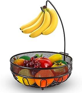 バナナツリーハンガー付きフルーツバスケットボウル、野菜収納スナックホルダーラックブレッドスタンド