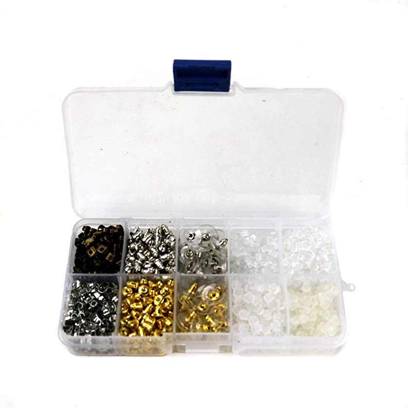 HUELE 10 Styles Earring Backs Kit Bullet Earring Backs Metal Rubber Plastic Secure Earring Backs Safety Back Stopper Replacement