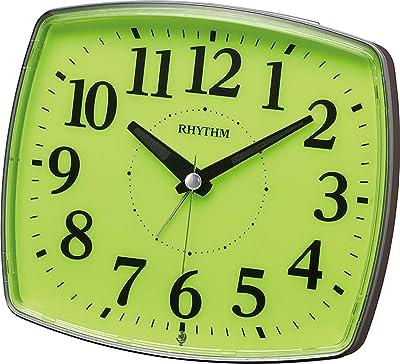 リズム(RHYTHM) 置き時計 グレー 13.1x15x6.7cm 目覚まし時計 集光文字板 ライト 連続秒針 電子音アラーム 8REA31SR08