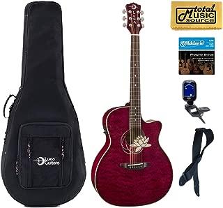 Luna FLO LOT QM Flora Lotus Quilted Maple Cutaway A/E Guitar, Soft Case Bundle