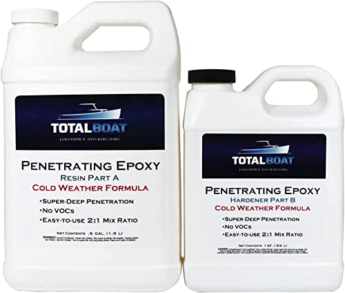 TotalBoat Clear Penetrating Epoxy Wood Sealer Stabilizer for Rot Repair and Restoration (Half-Gallon, Cold Weather)