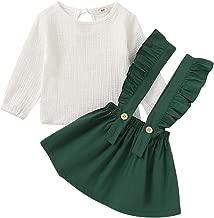 Baby Girl Linen Suspender Skirt Set Toddler Girls Long Sleeve Shirts Ruffled Dress Clothes