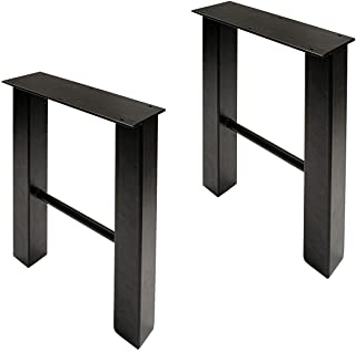 7Penn Industrial Trapezoid Legs - 16 Inch Steel Trapezoid Table Legs, Black Metal Legs for Furniture, 2 Piece Set