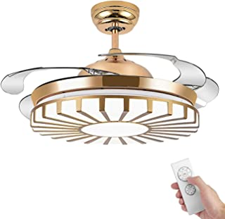 Booms Modern Invisible Ceiling Fan Light with Remote Control Ultra-quiet LED Outdoor Ceiling Fan 42 Inch Fan Chandelier Interior Decoration Living Room Bedroom Restaurant Cafe (Golden)