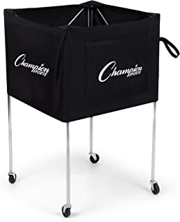 Champion Sports Folding Volleyball Cart with Wheels, Holds up to 30 Balls - Rolling, Portable Ball Carts with Reinforced Canvas, Non-Marring Swivel Casters - Premium Volleyball Storage Equipment
