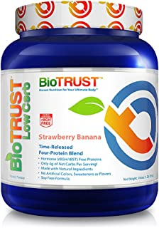 BioTrust Low Carb Natural and Delicious Protein Powder Whey & Casein Blend from Grass-Fed Hormone Free Cows | Non GMO, Soy Free, Gluten Free, Hormone & Antibiotic Free | Strawberry Banana