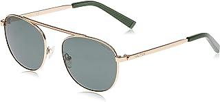 نظارة شمسية للرجال باطار مستطيل من نوتيكا مع شعار مطبوع بتقنية النانو ليزر، بلون ذهبي مطفي