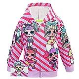 ALAMing LOL Surprise Kapuzenjacke, modisch, bedruckt, für Mädchen, Herbst-,Wintermantel, Jacke, Kinderbekleidung Gr. 7-8 Jahre, Stil 24