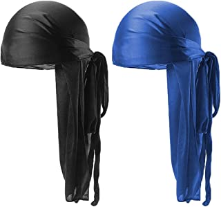 Unisex Deluxe Silky Durag Extra Long-Tail Headwraps Pirate Cap 360 Waves Du-RAG