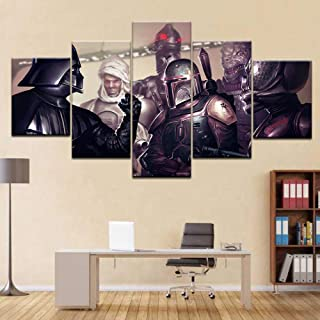 Fbhfbh Canvas Painting Poster Family Wall Decoration 5 Panel Star War Modular Movie Character Picture-12X16/24/32Inch,Without Frame