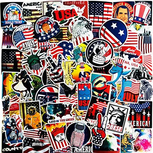 Fabian Roo 50 – 300 unidades de pegatinas clásicas de vinilo retro – Presidente americano, banderas de país, calcomanías de equipaje, sellos de viaje, Londres, Japón, Corea y Estados Unidos