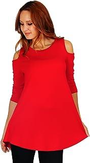 97e37ca4b7 Simply Ravishing Women s Cold Shoulder Flare 3 4 Sleeve Blouse Top Tunic  Shirt (Size