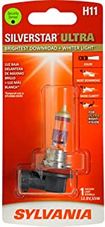 SYLVANIA - H11 SilverStar Ultra - High Performance Halogen Headlight Bulb, High Beam, Low Beam and Fog Replacement Bulb, Brightest Downroad with Whiter Light, Tri-Band Technology (Contains 1 Bulb)