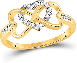 FB Jewels 10K Yellow Gold Womens Round Diamond Infinity Heart Ring 1/10 Cttw Size 7 (Widest point width: 9 mm .35 inches -...