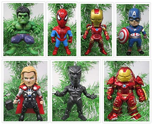 Christmas Ornaments Team Avengers Comic Super Hero Set Featuring Iconic Avenger Members