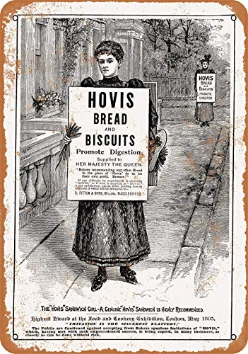 ZMKDLL 1895 Hovis Bread and Biscuits Vintage Look Metal Sign 8″x12″ Decor Tin Signs