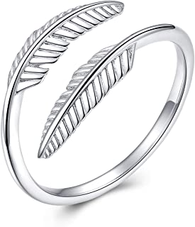 PRAYMOS 925 Sterling Silver Ring Adjustable Open Ring for Women with Jewelry Box