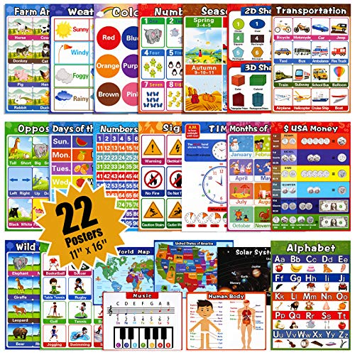 Large Educational Preschool Posters for Kids Toddlers, Laminated Early Learning Charts Set with Tape for Nursery Homeschool Kindergarten Classroom Teach Alphabet Numbers Time and More (22Pack)