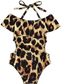 FRAUIT Costume da Bagno Ragazza Leopardata Bikini Costume Intero Mare Piscina Bambina Costumi da Bagno per Nuotare