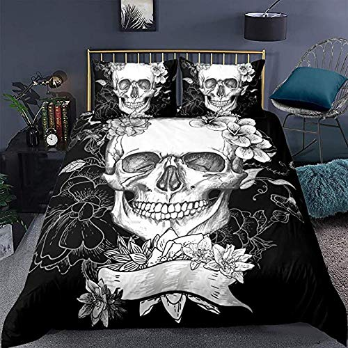 Mens Bed Set Sugar Skull Bedding Duvet Cover Full 3D Printed Gothic Set Floral And Soft Retro Comforter For Home Decor Horror Skulls Bed Quilt Theme