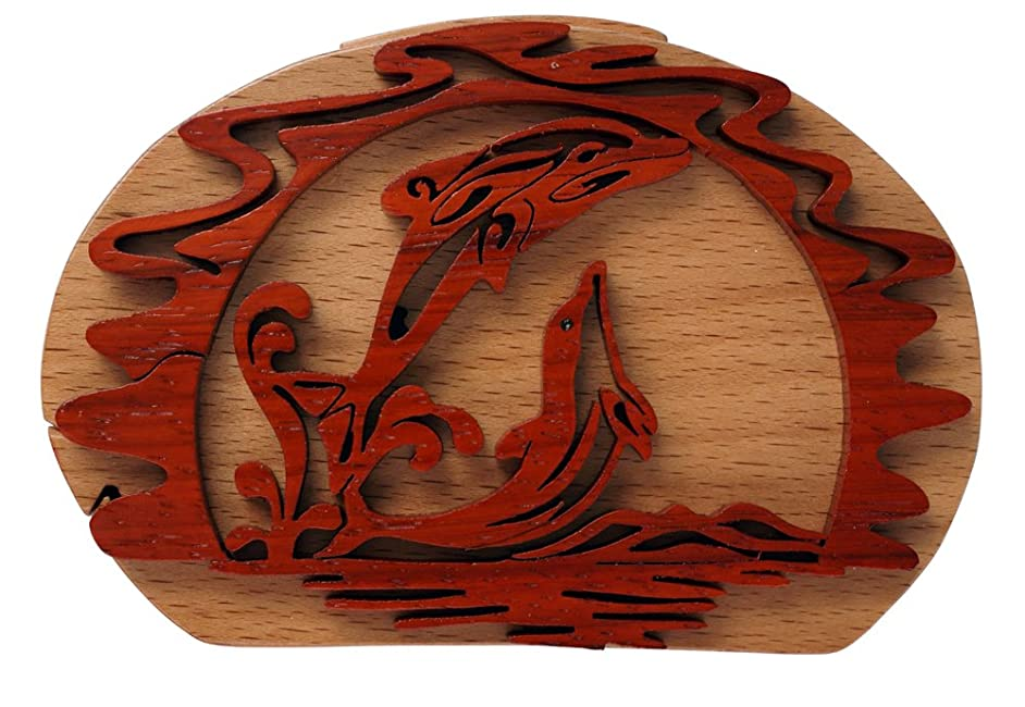 Dolfin 4 Piece Hand-Carved Puzzle Box Measures 3.5 x 3.5 x 1.9 Inches