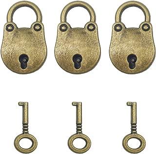 Hyamass 3pcs Vintage Antique Style Mini Bear Head Archaize Padlocks Key Lock with Keys (Bronze)