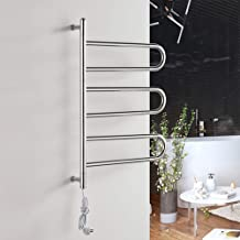 RDREAM Energy Efficient Electric Plug in Heated Towel Rack,6-Bar Wall Mounted Towel Warmer and Drying Rack for Bathroom Home 304 Stainless Steel,1