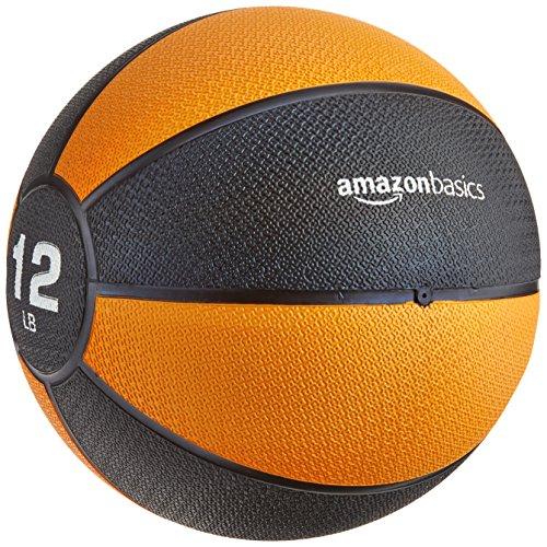 Amazon Basics Workout Fitness Exercise Weighted Medicine Ball - 12 Pounds, Orange/Black