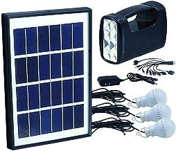 نظام طاقة شمسية متنقل 5واط يحتوي كشاف و 3 لمبات مع شاحن جوالات