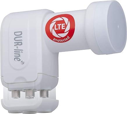 DUR-line +Ultra Quad LNB - 4 Teilnehmer weiß - mit LTE-Filter [ Test SEHR GUT ] 4-Fach, digital, Full HD, 4K, 3D, Sieger - Premium-Qualität