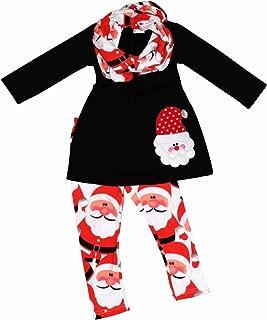 Girls 3 Piece Christmas Santa Claus Legging Set Red
