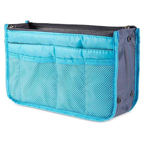 Bolsa Organizador de Viaje para Maquillaje, Cosméticos, Artículos de Higiene Personal, Lencería o Más. Talla Mediana. (Azul)