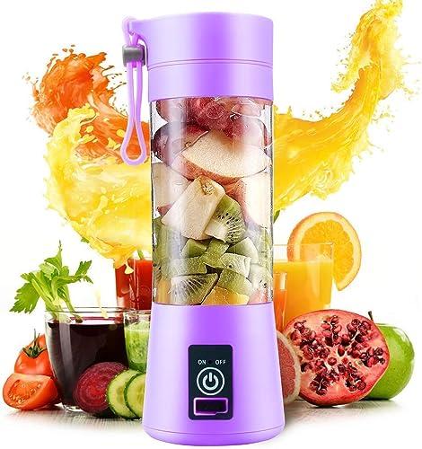 Krisha Retails Portable Blender Mini Rechargeable Home Appliances Fruit 380ml Blender with 6 Blade