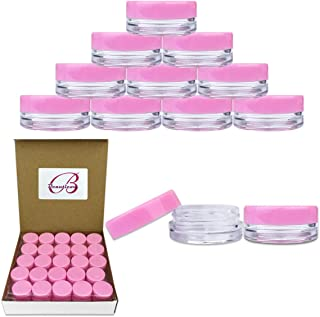 50 Jars Beauticom 3 Grams / 3 ml Top Quality Round Clear Jars with Lids for Cosmetics, Lotion, Creams, Make Up, Beads, Charms, Rhinestones, Accessories and Much More! (Pink Lid)