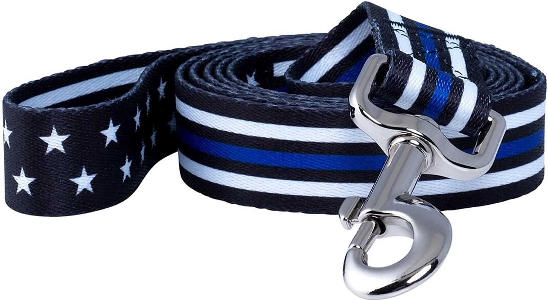 Native Pup Thin bluee Line Police Dog Leash (Stars)