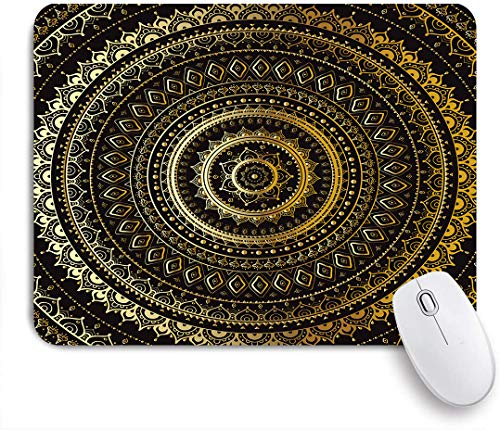 MAYBELOST Gaming Mouse Pad Non-Slip Rubber Base,Gold Mandala Decorative Motif Symbol of Universe in Balance Oriental Floral,for Computer Laptop Office Desk,9.5 x 7.9in