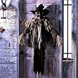 "Animated Creepy Scarecrow Halloween Decoration and Prop, 55"" x 15 3/4"" x 53"", by Tekky Toys"
