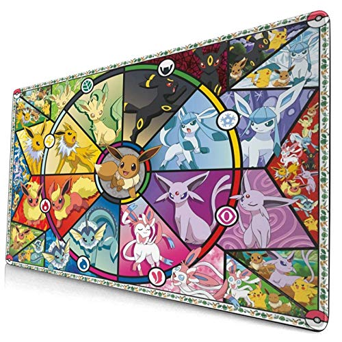 Po-Ke_Mon Eevee'S Stained Glass Large Gaming Mouse Pad,with Non-Slip Computers Laptop Office&Home 750×400×3mm (29.5×15.8×0.12 Inch)