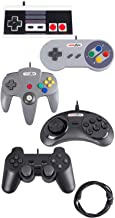 Mario Retro Bundle USB Controllers Replacement for N64 SNES Ps2 NES Sega Gamepad for PC Emulator Rasberry Pi (5 Pack)
