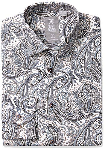 STACY ADAMS mens Contemporary Modern Fit Dress Button Down Shirt, Grey Paisley, 16.5 Neck 34 -35 Sleeve US