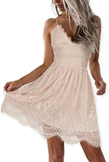 dce058e799cb AOOKSMERY Women Summer V-Neck Spaghetti Straps Lace Backless Party Club  Beach Mini Dresses