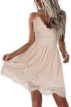 AOOKSMERY Women Summer V-Neck Spaghetti Straps Lace Backless Party Club Beach Mini Dresses