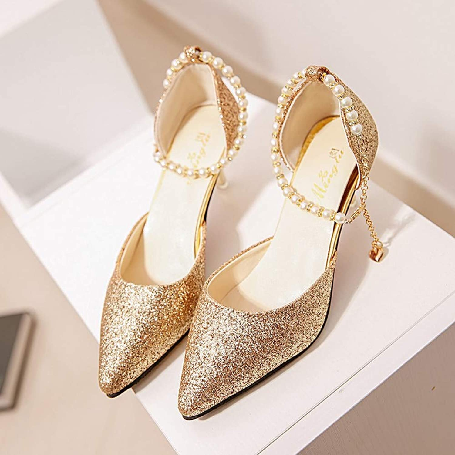 UKJSNHH igh Heels Pointed Toe Pearl High Heels shoes Female Fashion Hollow with Sandals of The Thin Breathable shoes Women Pumps