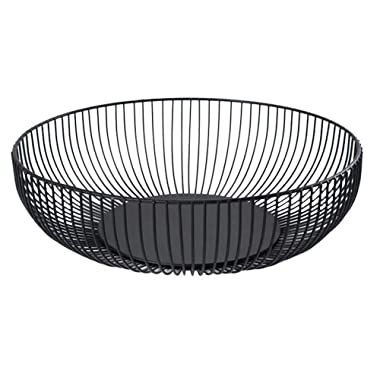 Metal Wire Countertop Fruit Bowl Basket Holder Stand for Kitchen | Black Modern Home Table Decor - 11 Inch (Hemisphere)