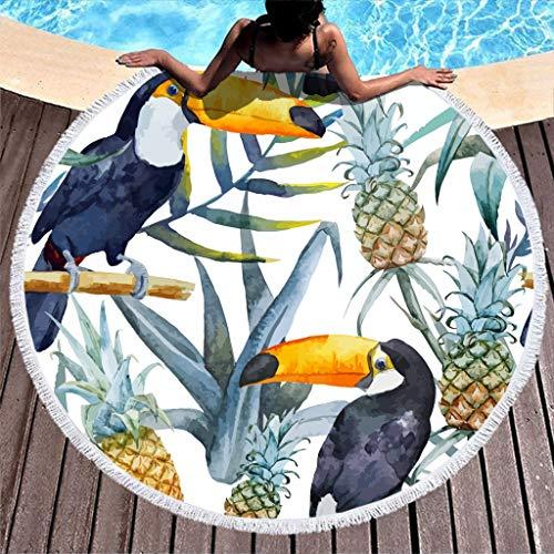 Strandtuch Tukan Ananas Groß Rund Microfaser Strandtücher Sommer Strandhandtuch Badetuch Wandteppich Teppich Yoga Matten Picknickdecke Stranddecke Weiß 150cm