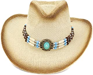 Sun Hat for men and women Fashion Summer Women Men Outdoor Straw Cowboy Hat Sun Hat Beach Hat Male Turquoise Beads String Sunhat