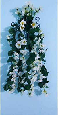 Classic Enterprises Artificial Hanging Orchid Yellow Sun Flower Garland Hanging Plant Vine 2 Feet for Home Party Garden Decor (White)