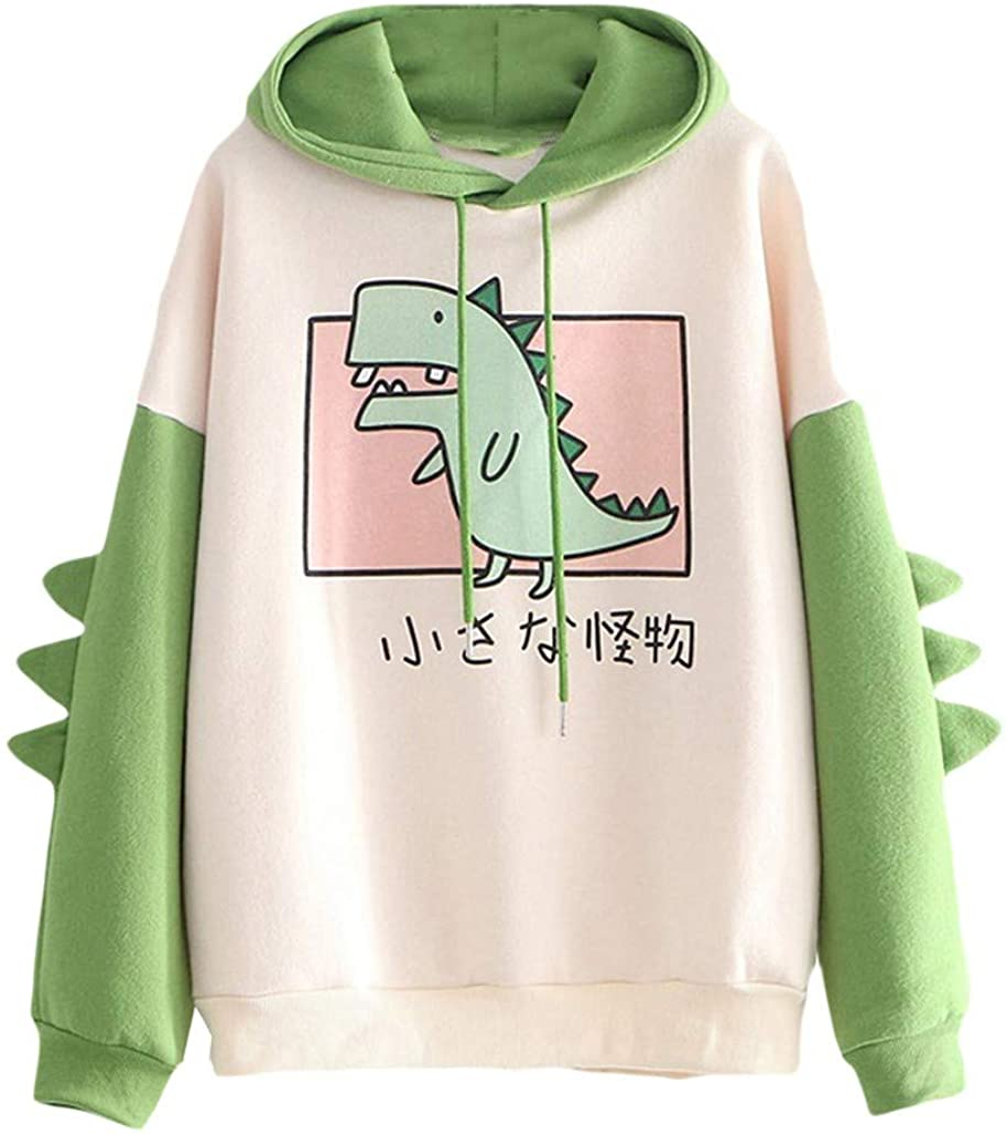 Holzkary Dinosaur Sweatshirt for Women Cosplay Anime Bunny Cartoon Hoodie Girls Hoody Jumper Tops