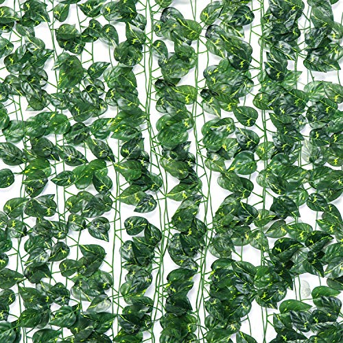 Uergrace 84 Ft 12 Strands Fake Ivy Leaves Artificial Ivy Garland Faux Green Hanging Plant Vine for Party Wedding Home Wall Decor (Green Dill Leaves)
