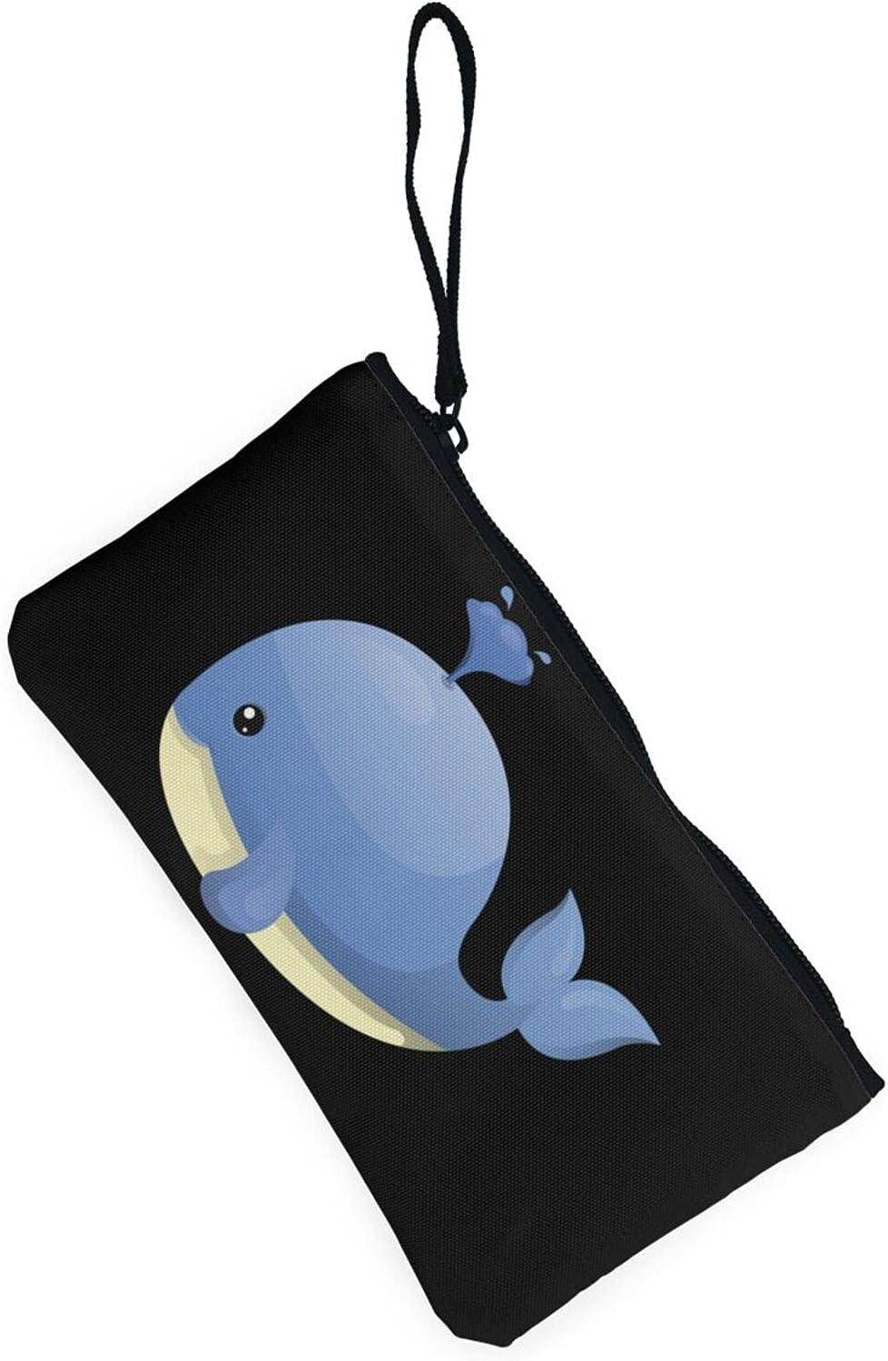 AORRUAM Cartoons Whale Lighthouse Canvas Coin Purse,Canvas Zipper Pencil Cases,Canvas Change Purse Pouch Mini Wallet Coin Bag